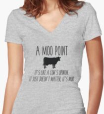 Friends - Moo Point Women's Fitted V-Neck T-Shirt