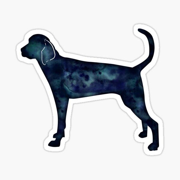 Treeing Walker Coonhound Black Watercolor Silhouette Sticker