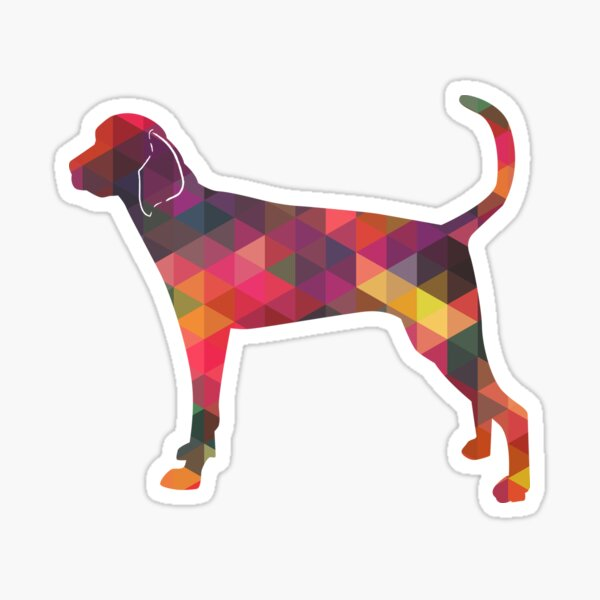 Treeing Walker Coonhound Colorful Geometric Pattern Silhouette - Multi Sticker