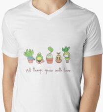 ALL THINGS GROW WITH LOVE Men's V-Neck T-Shirt
