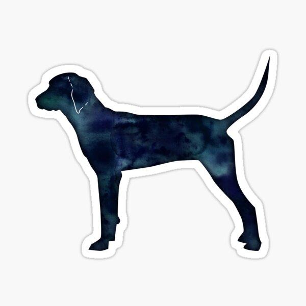Redbone Coonhound Black Watercolor Silhouette Sticker