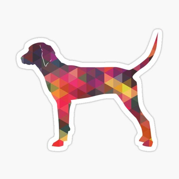 Redbone Coonhound Colorful Geometric Pattern Silhouette - Multi Sticker