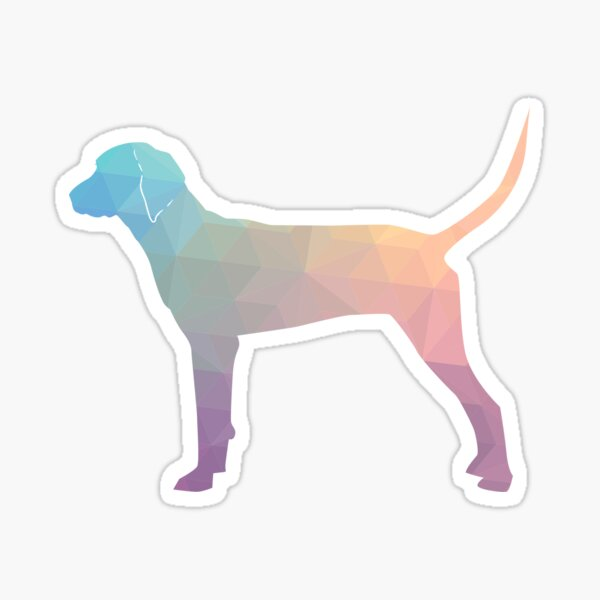Redbone Coonhound Colorful Geometric Pattern Silhouette - Pastel Sticker