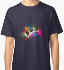 Piano Wavy Keyboard Paint Splatter Abstract Illustration Classic T-Shirt