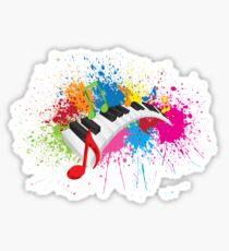 Piano Wavy Keyboard Paint Splatter Abstract Illustration Sticker