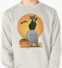Halloween Black Cat Stting on Tombstone Illustration Pullover