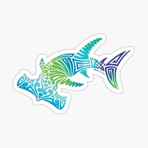 Cool Colors Tribal Hammerhead Sticker