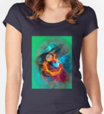 Hummingbird - Colorful Digital Fractal Abstract Art  Women's Fitted Scoop T-Shirt