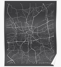 Dortmund Map, Germany - Gray Poster