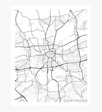Dortmund Map, Germany - Black and White Photographic Print