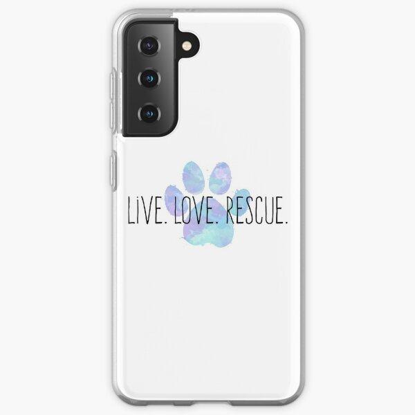 Live. Love. Rescue. Blue Dog Paw Samsung Galaxy Soft Case