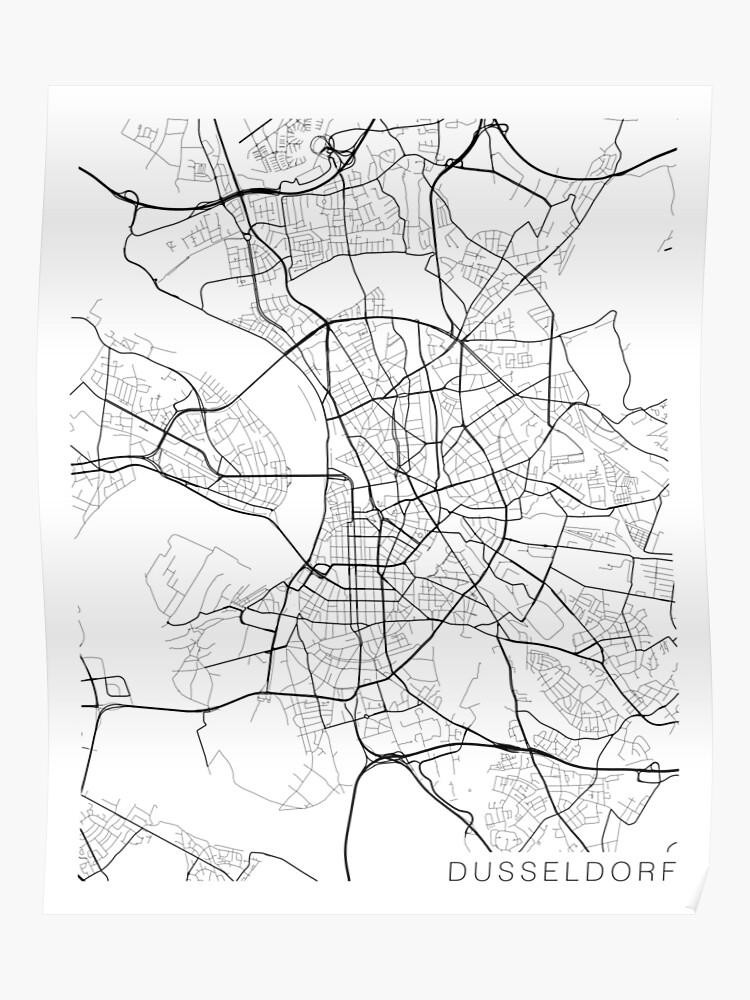 Carte Allemagne Noir Et Blanc.Carte De Dusseldorf Allemagne Noir Et Blanc Poster