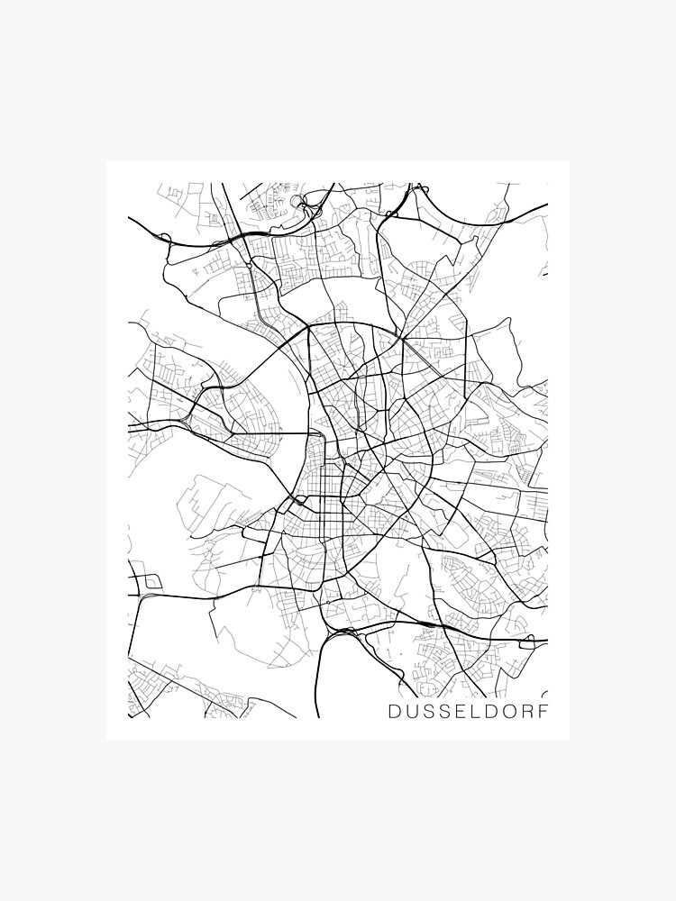 Carte Allemagne Noir Et Blanc.Carte De Dusseldorf Allemagne Noir Et Blanc Impression Photo