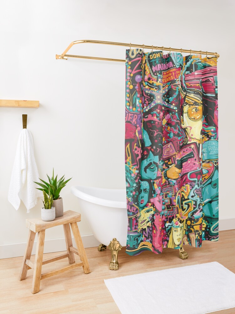 Alternate view of Fear and Loathing Las Vegas Art Shower Curtain