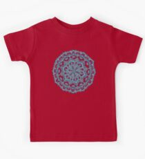 Summer Bloom - floral doodle pattern in turquoise & white Kids Tee