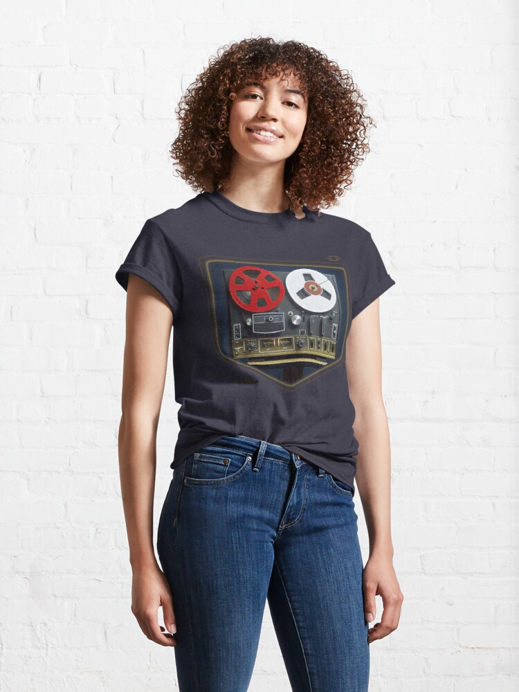 Alternate view of Retro music concept with an analog reel to reel tape Classic T-Shirt