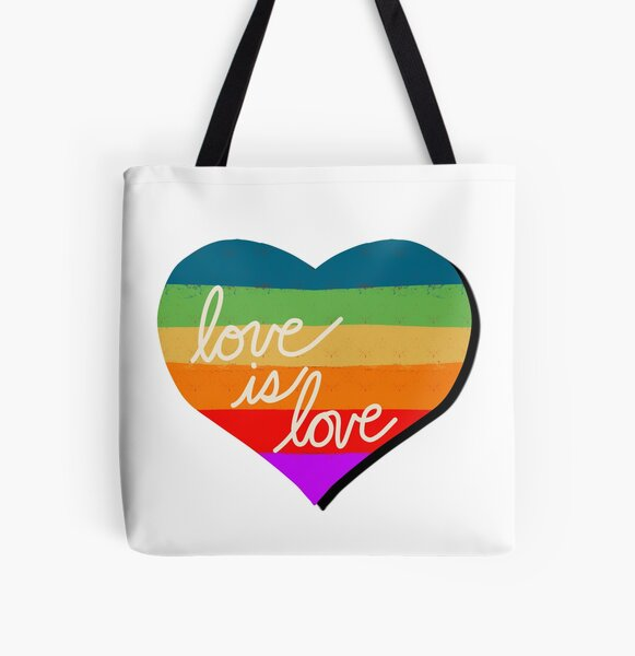 Love is Love Rainbow Heart for Pride All Over Print Tote Bag