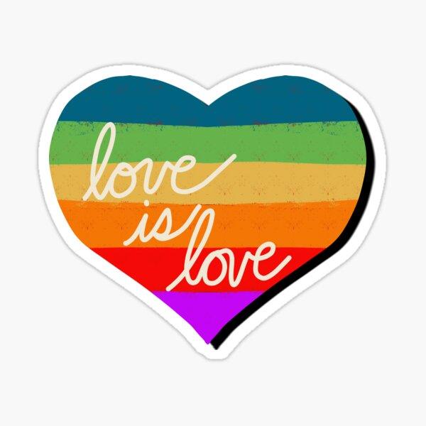 Love is Love Rainbow Heart for Pride Sticker