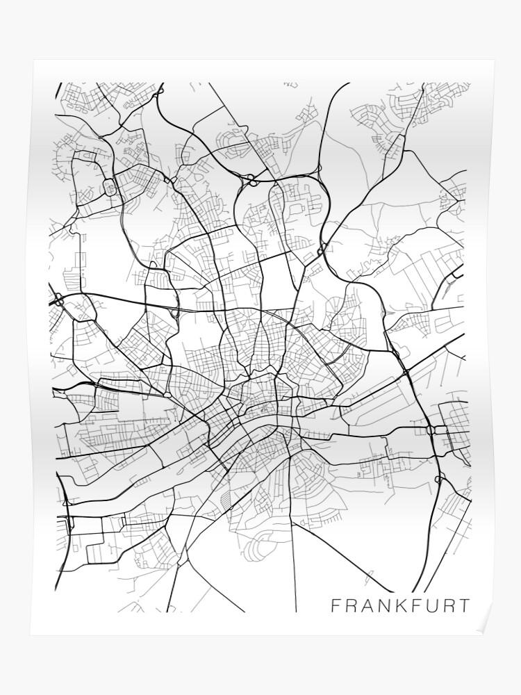 Map Of Germany Frankfurt.Frankfurt Map Germany Black And White Poster