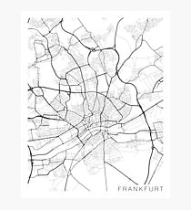 Frankfurt Map, Germany - Black and White Photographic Print