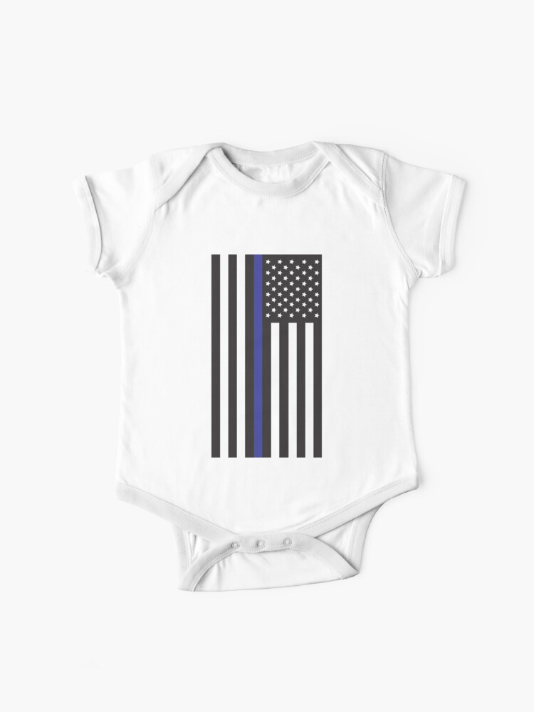 Baby Short-Sleeve Onesies Love Retro Blue Thin Line American Flag Bodysuit Baby Outfits