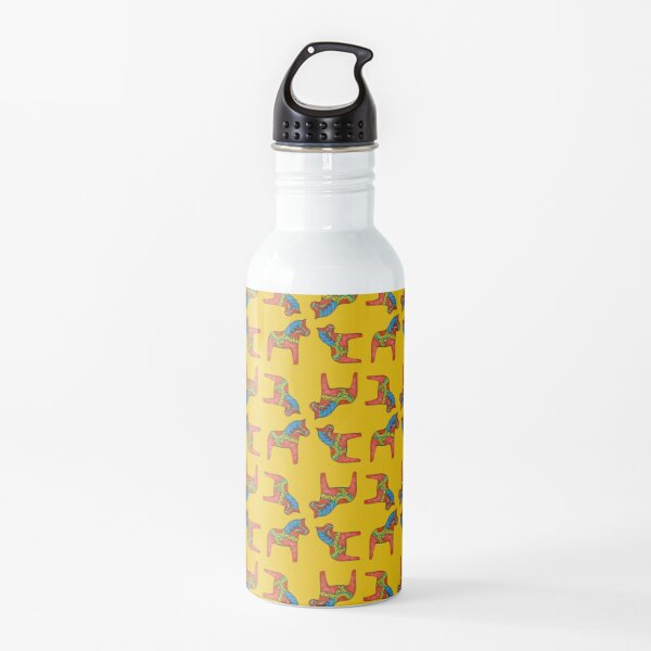 Swedish Dala Horse - Red Blue Green on Yellow Background Water Bottle
