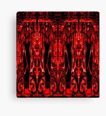 Egyptian Priests and Cobras in Red and Black III Canvas Print