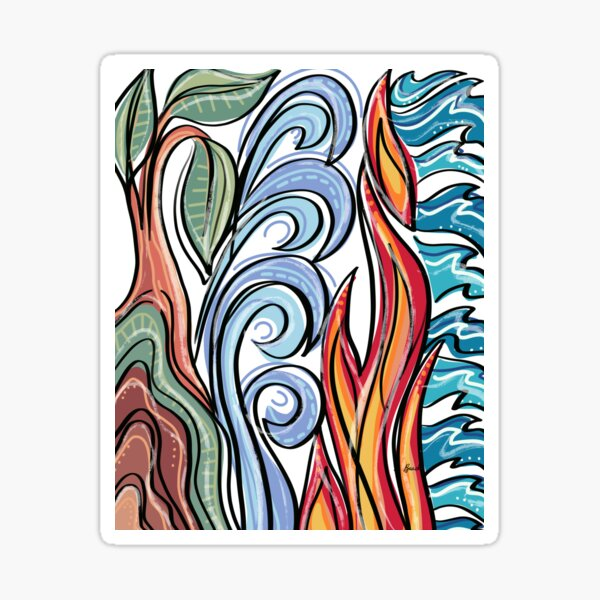 Earth Air Fire Water: Four Elements Sticker
