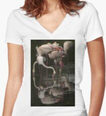 More Flamingos Women's Fitted V-Neck T-Shirt