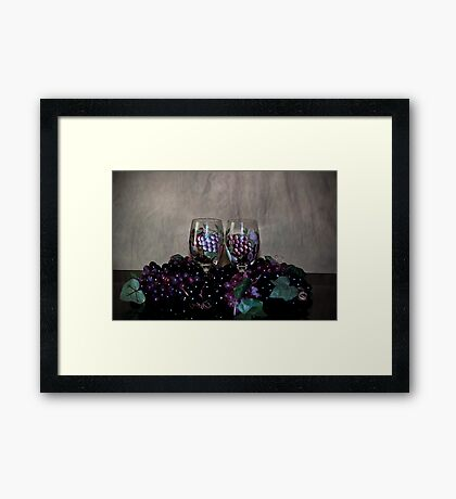 Hand Painted Wine Glasses, Grapes & More Grapes Framed Print