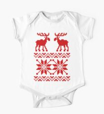 Moose Pattern Christmas Sweater One Piece - Short Sleeve