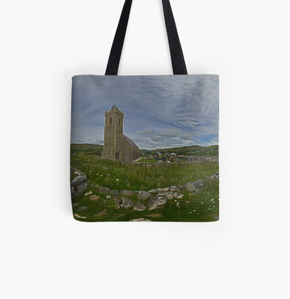 Glencolmcille Panorama with Church All Over Print Tote Bag