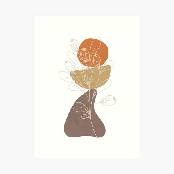 Minimalist landscape art with a plant and an orange sun Art Print