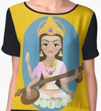 Hindu Goddess Saraswati. Vector hand drawn illustration. Chiffon Top