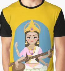 Hindu Goddess Saraswati. Vector hand drawn illustration. Graphic T-Shirt