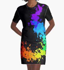 Rainbow Splatter T-Shirt Kleid