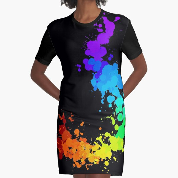 Rainbow Splatter Graphic T-Shirt Dress