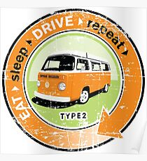 Eat Sleep Drive Repeat orange green grunge Poster