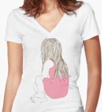 Little girl in a pink dress sitting back hair Women's Fitted V-Neck T-Shirt