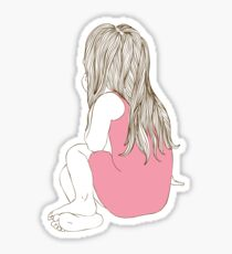 Little girl in a pink dress sitting back hair Sticker