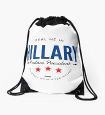 Deal Me in Hillary Clinton Drawstring Bag
