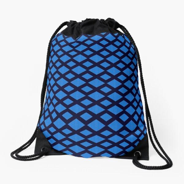 Argyle pattern, Deep Blue Ocean Drawstring Bag