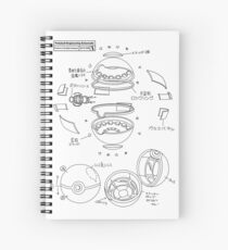 Pokeball Engineering Schematic Spiral Notebook
