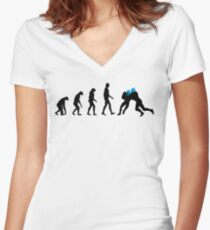 Evolution Football – get your funny football shirt Women's Fitted V-Neck T-Shirt