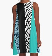 Animal Print, Zebra Stripes, Leopard Spots - Blue A-Line Dress