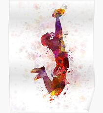 american football player catching ball Poster