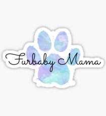 Furbaby Mama, Blue Dog Paw Sticker