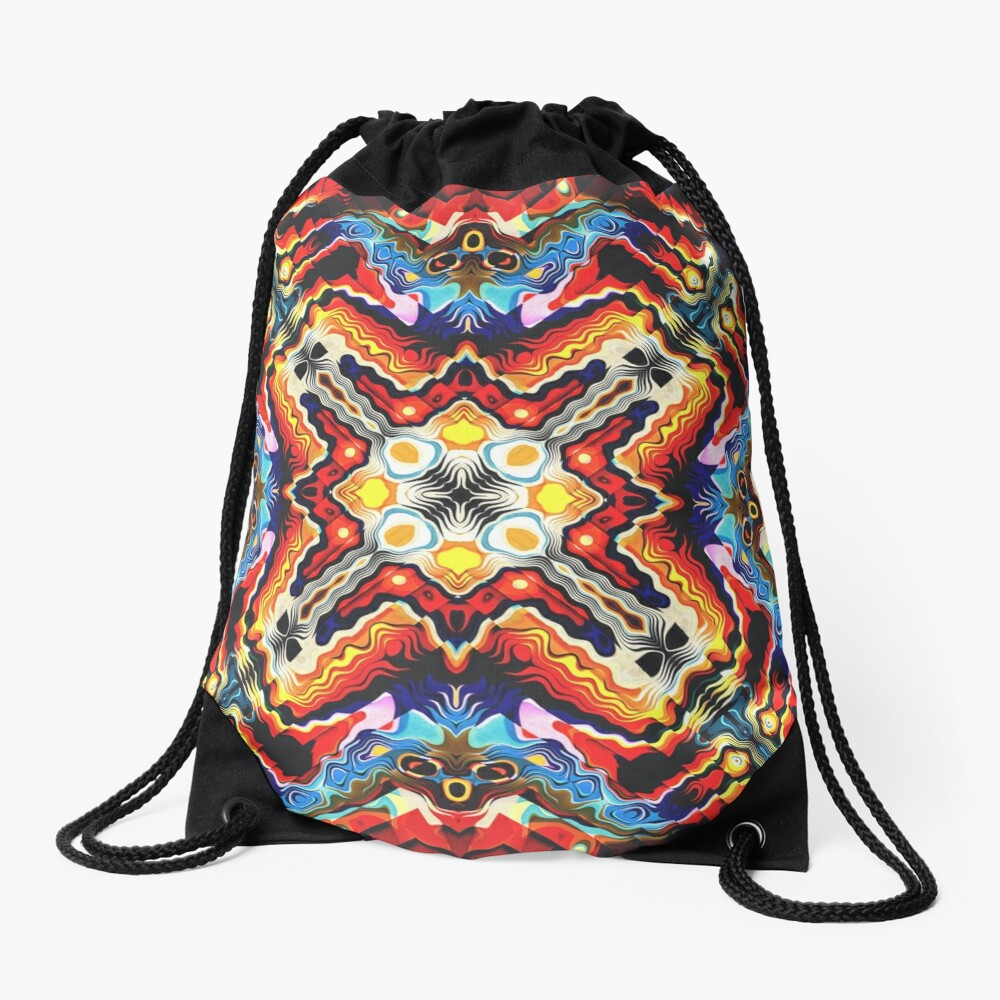Colorful Tribal Motif Drawstring Bag