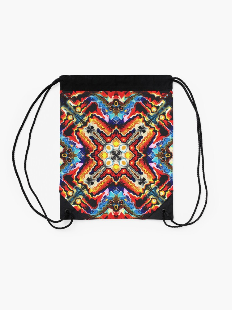 Alternate view of Colorful Tribal Motif Drawstring Bag