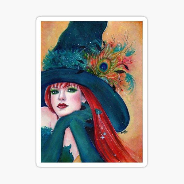 Pia Dora Halloween witch art by Renee Lavoie Sticker